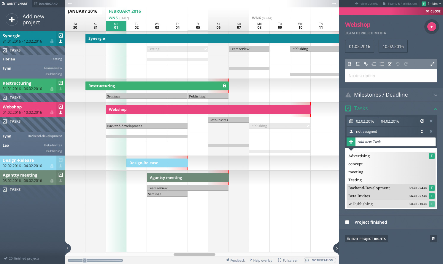 Free gantt chart! Free Project Management Tool Agantty. Use it now →