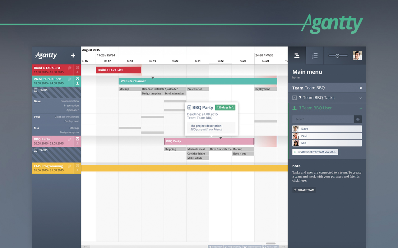 resize, drag & drop unlimited projects in your gantt chart view and organize your team
