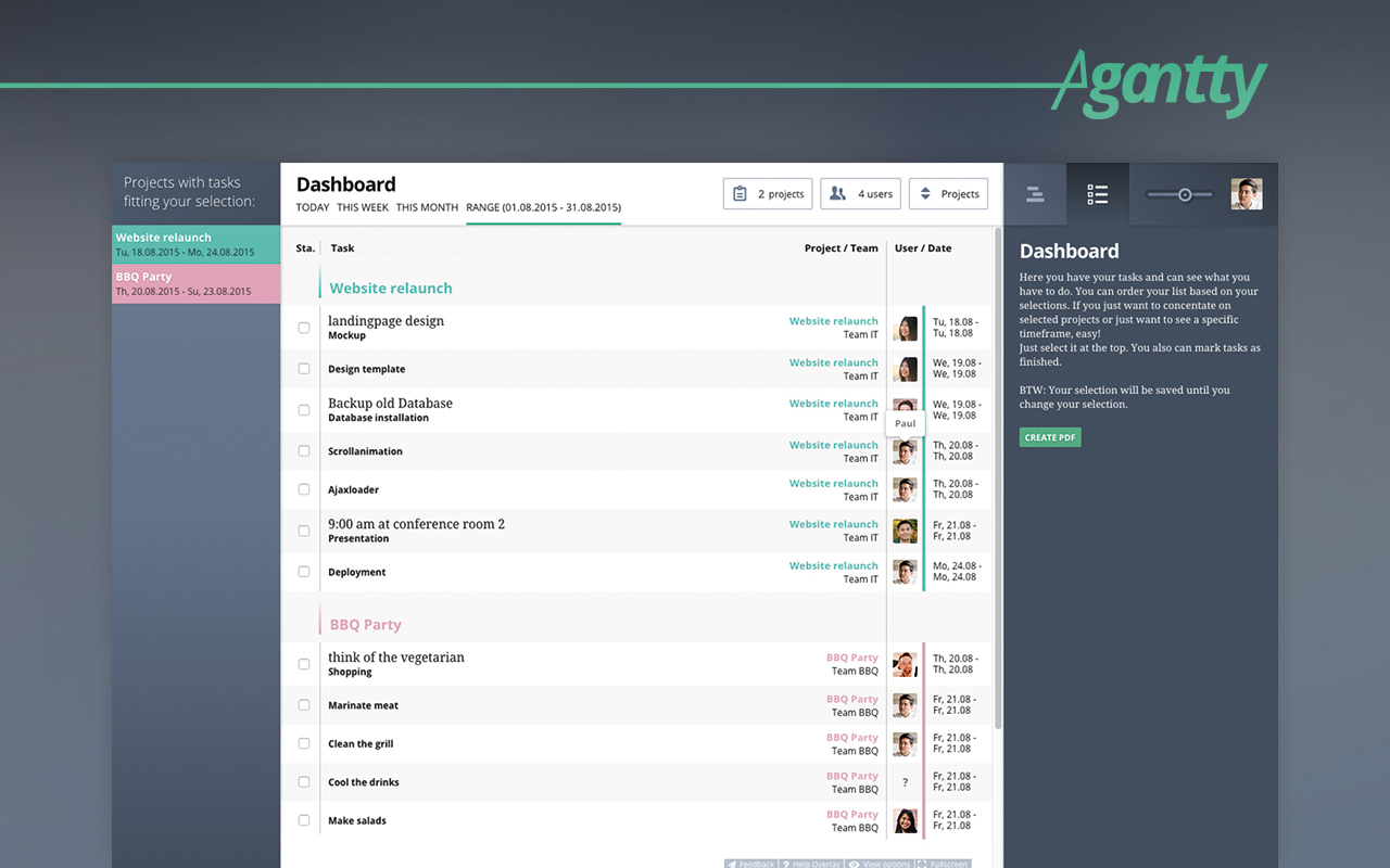 see all relevant tasks for your and your team members in the agantty dashboard